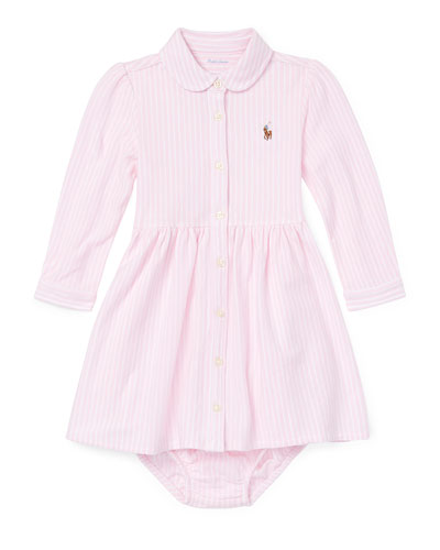 Oxford Long-Sleeve Shirt Dress w/ Bloomers, size 6-24 Months