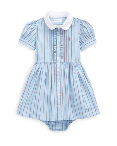 Girl's Woven Striped Shirt Dress w/ Bloomers, Size 6-24 Months