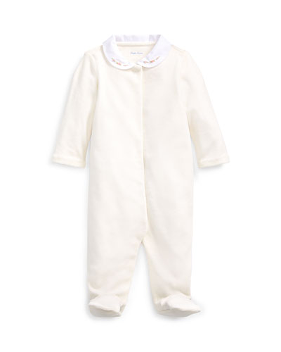 Solid Velour Footie Pajamas, Size 3-9 Months
