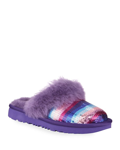 Cozy II Rainbow Printed Sequin Slippers, Toddler/Kids