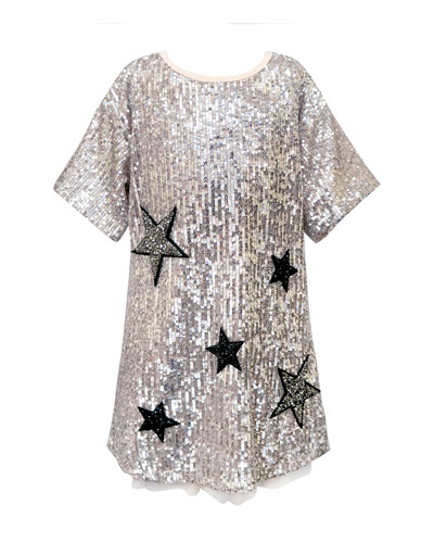 Girl's Sequined Star Dress, Size 7-14