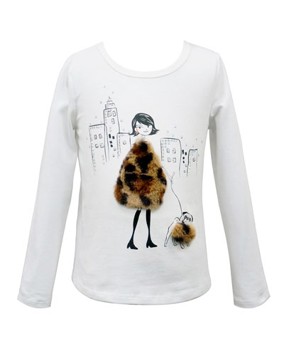 Girl's Faux Fur Trim Graphic Tee, Size 7-14