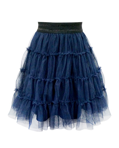 Girl's Tiered Ruffle Tulle Skirt, Size 4-6X