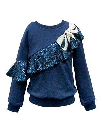 Girl's Sequin Ruffle Trim Top, Size 7-14