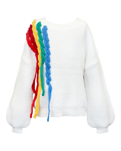 Girl's Rainbow Streamers Knit Sweater, Size 7-14