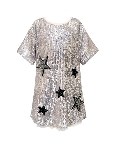 Girl's Sequined Star Dress, Size 4-6X