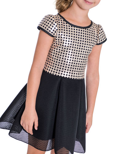 Girl's Meghan Golden Perforated Dress, Size 7-16