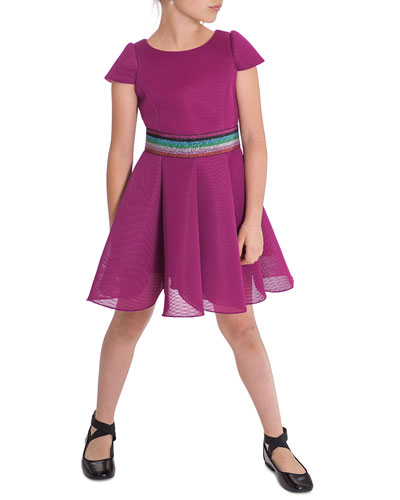 Girl's Cap-Sleeve Scuba Mesh Skater Dress w/ Multi Belt, Size 7-16