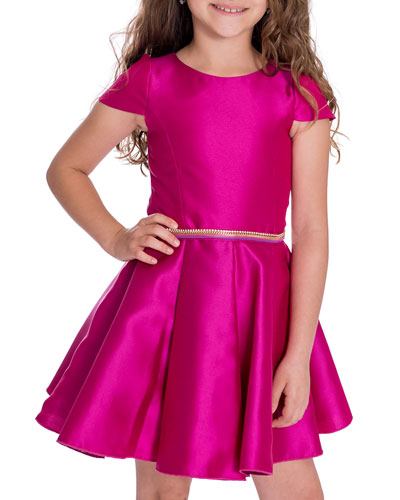 Girl's Holland Matte Sateen Dress w/ Rhinestone Belt, Size 4-6X