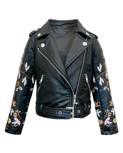 Girl's Faux Leather Floral Embroidery Jacket, Size 7-14