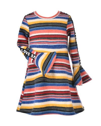 Girl's Striped Long-Sleeve Dress w/ Love Ribbon Trim, Size 4-6X