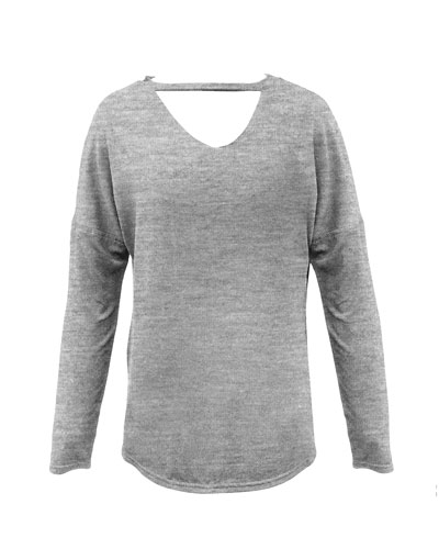 Girl's Heathered V Cutout Top, Size S-XL