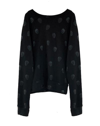 Skulls Foil Print Sweatshirt, Size 7-16