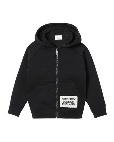 Boy's Zip-Up Hooded Jacket w/ Logo Patch, Size 3-14