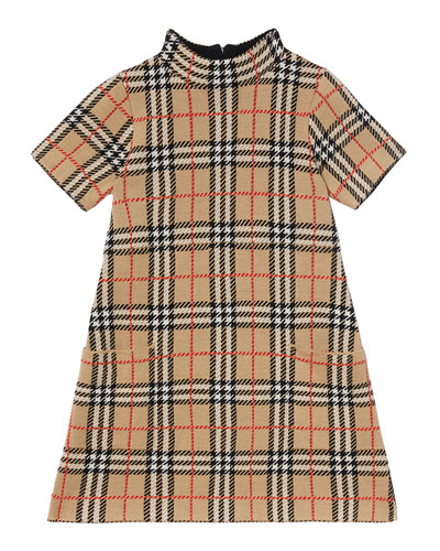 Girl's Denise Jacquard Check Turtleneck Dress, Size 3-14