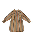 Burberry Girl's Melody Icon Stripe Shirt Dress, Size