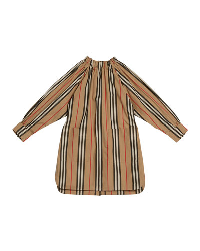 Girl's Melody Icon Stripe Shirt Dress, Size 3-14