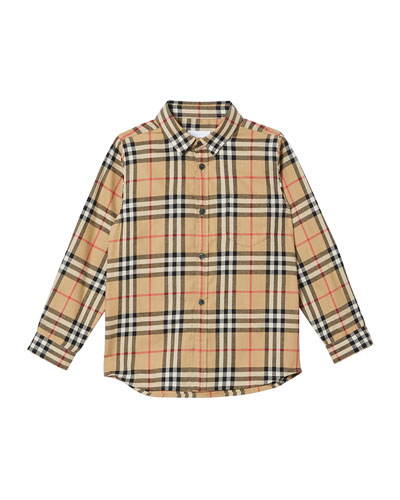 Boy's Fredrick Check Flannel Shirt, Size 3-14