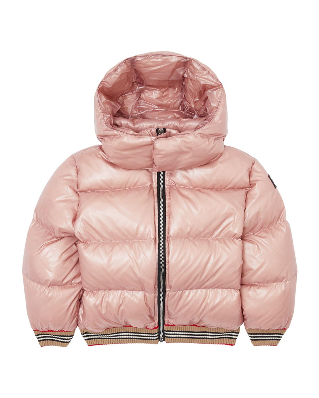 Burberry Kids' Girl's Josiah Short Puffer Coat W/ Icon Stripe Trim In Pink