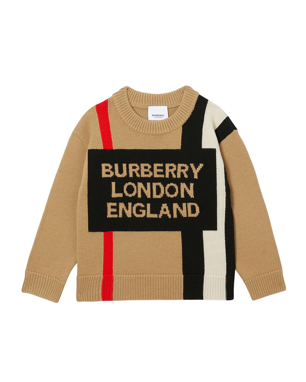 Burberry Kids' Boy's Rolfe Icon Stripe Logo Sweater In A7026 Archive Beige