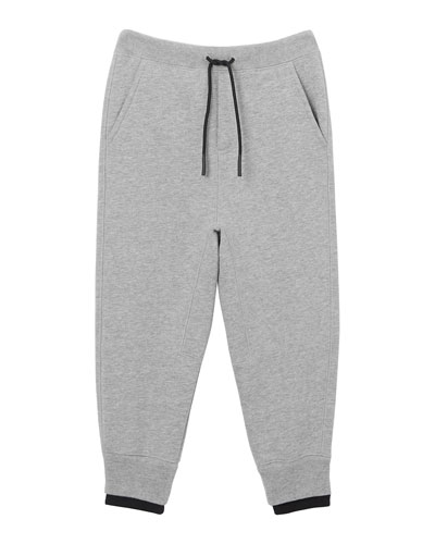 Boy's Double Ribbed Logo Patch Sweatpants, Size 3-14