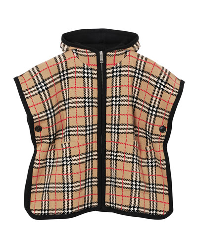 Kid's Hooded Check Cape, Size M-L