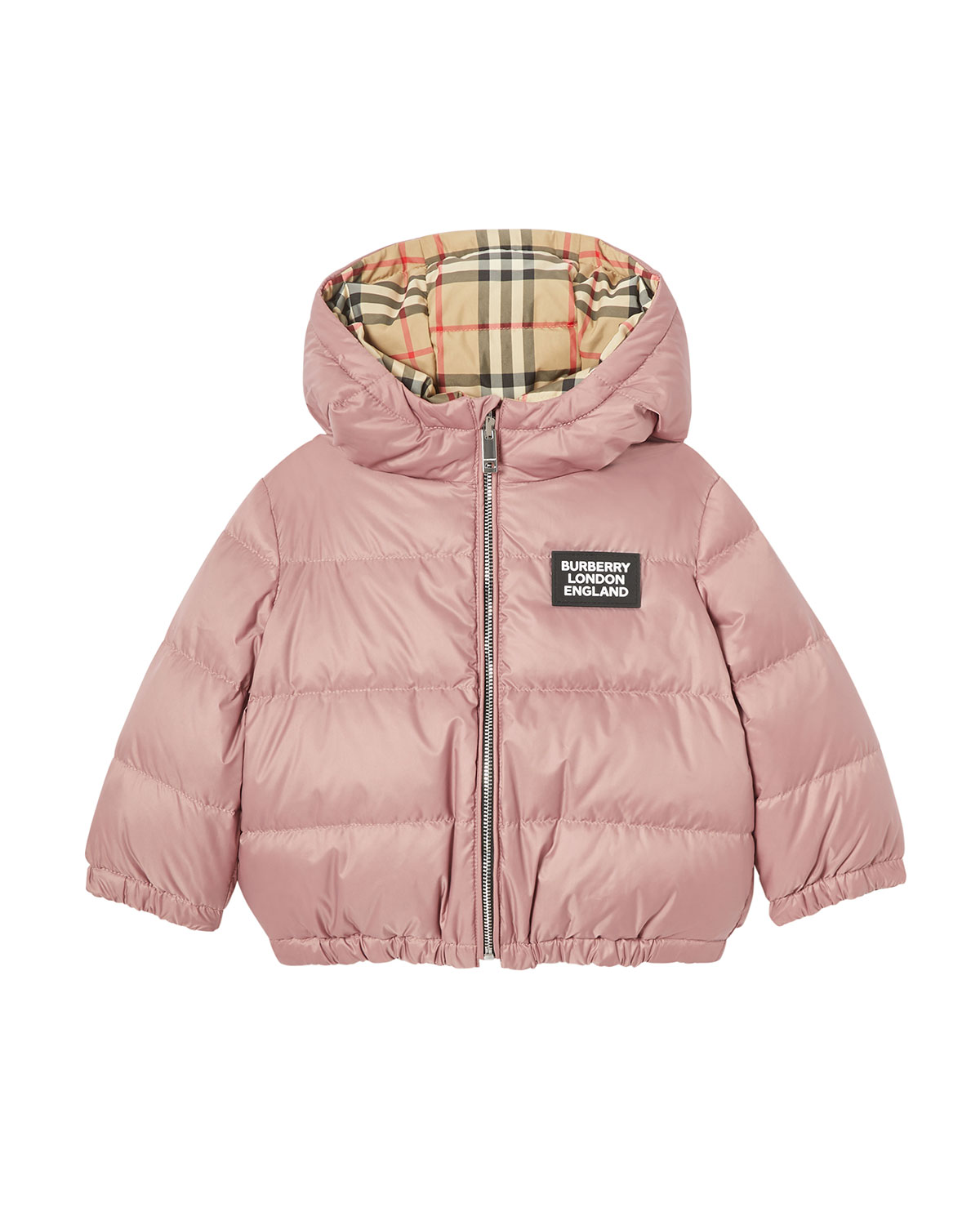 Burberry Girls' Rayan Reversible Hooded Down Jacket - Baby In Pink