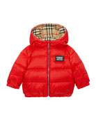Burberry Girl's Rayon Check Reversible Puffer Coat, Size