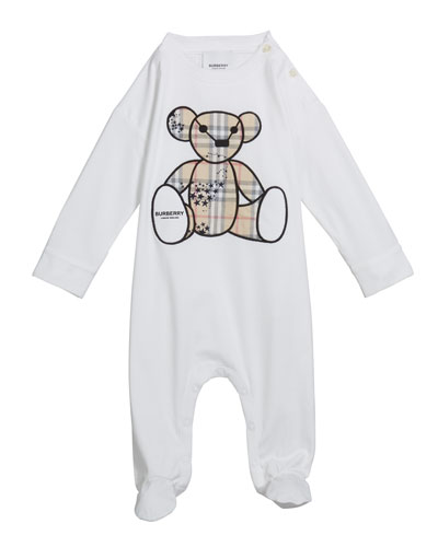 Boy's Check Bear Applique Footie Pajamas, Size 3-18 Months