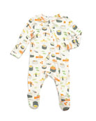 Angel Dear Sushi Print Zipper Footie Pajamas, Size