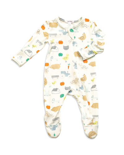 Little Farm Print Zipper Footie Pajamas, Size Newborn-9 Months