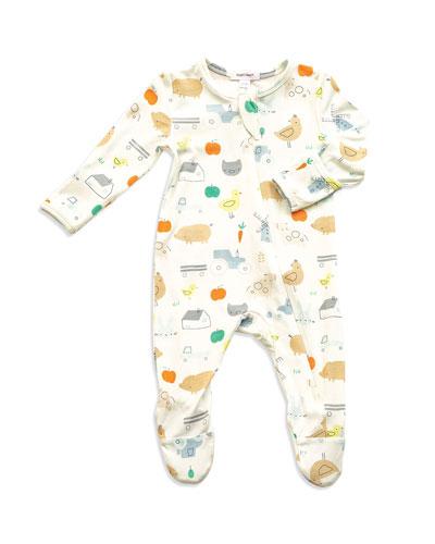 Little Farm Print Zipper Footie Pajamas, Size Newborn-9 Months