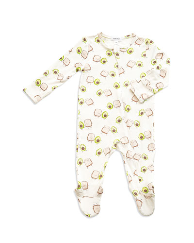 Avocado Toast Print Zipper Footie Pajamas, Size Newborn-9 Months