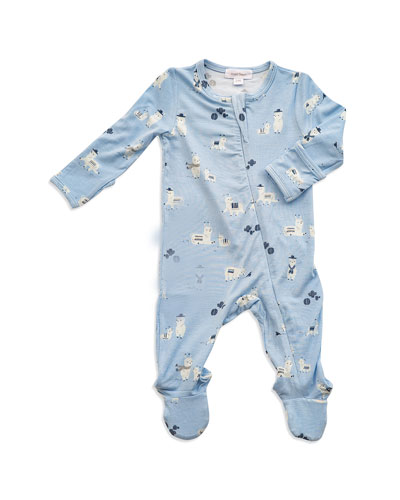 Llama Print Zipper Footie Pajamas, Size Newborn-9 Months