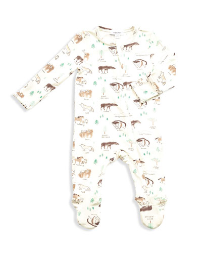 West Wild Print Zipper Footie Pajamas, Size Newborn-9 Months