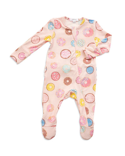 Donuts Print Zipper Footie Pajamas, Size Newborn-9 Months