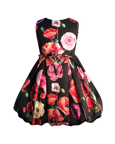 Girl's Floral Print Taffeta Dress, Size 7-14