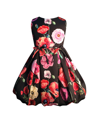Girl's Floral Print Taffeta Dress, Size 2-6