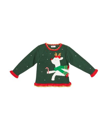 Girl's Reindeer Intarsia Holiday Sweater, Size 12M-7
