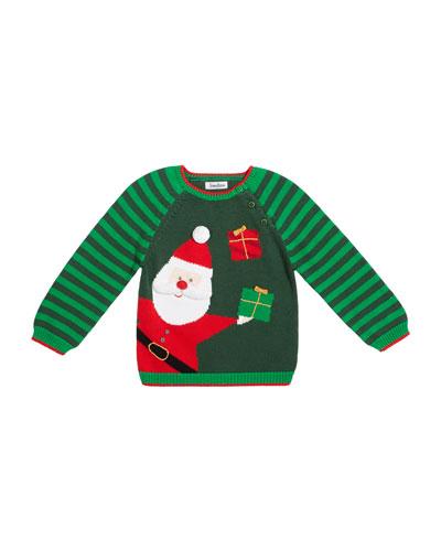 Boy's Santa Holiday Intarsia Sweater, Size 12M-7