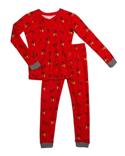 Girl's Reindeer Print Sleep Set, Size 2-14