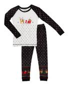 PJ Salvage Kid's Sleigh Sleep Set, Size 2-14