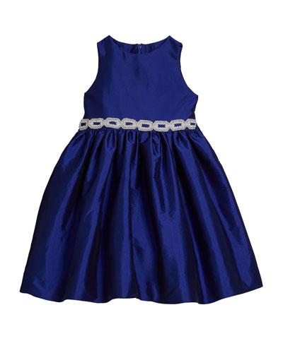 Girl's Matte Sateen Dress w/ Beaded Waist Trim, Size 12M-3