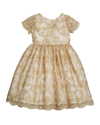Girl's Floral Lace Short-Sleeve Fit-&-Flare Dress, Size 12M-3