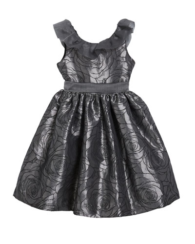 Girl's Floral Jacquard Dress w/ Ruffle Organza Collar, Size 12M-3