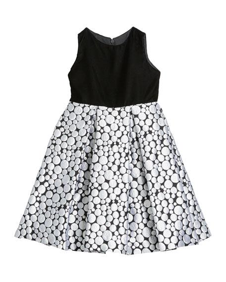 Susanne Lively Girl's Bubble Brocade Skirt w/ Velvet Top Dress, Size 4-6X