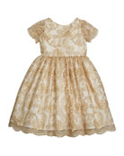Susanne Lively Girl's Floral Lace Short-Sleeve Fit-and-Flare