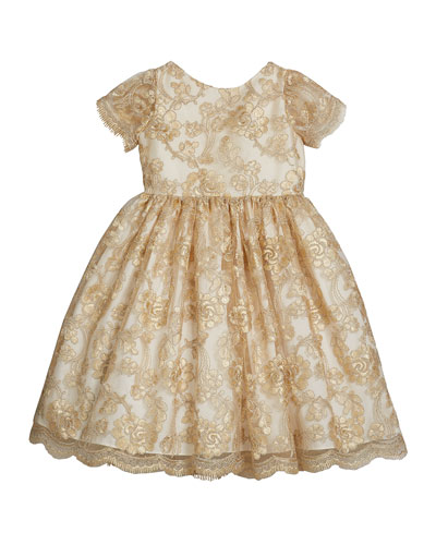 Girl's Floral Lace Short-Sleeve Fit-and-Flare Dress, Size 4-6X