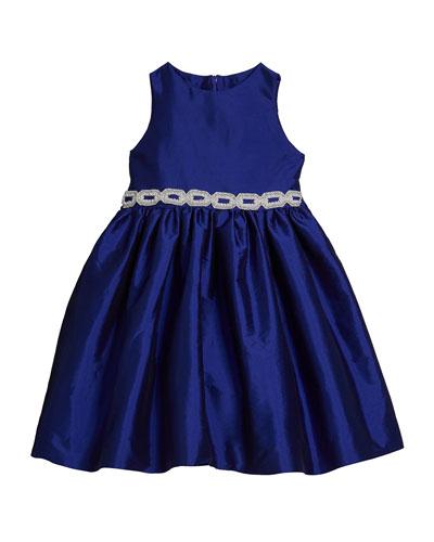 Girl's Matte Sateen Dress w/ Beaded Waist Trim, Size 4-6X