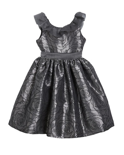 Girl's Floral Jacquard Dress w/ Ruffle Organza Collar, Size 4-6X